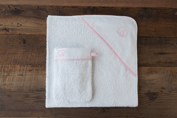 Elephant hooded towel and wash mitt set - Rose
