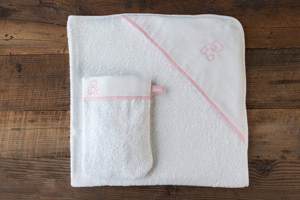 Bear hooded towel and wash mitt set - Rose