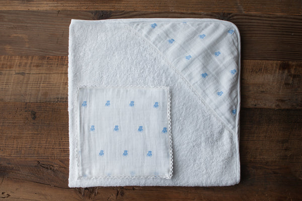 Bear muslin hooded baby towel & wash cloth set - Bonne Nuit Blue