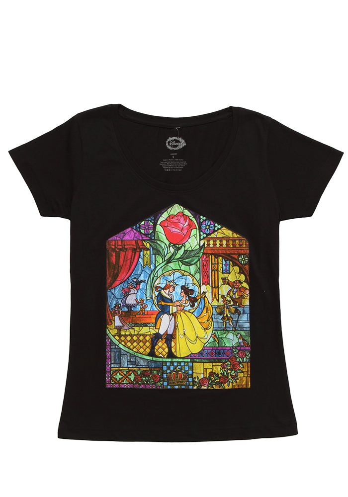 BEAUTY AND THE BEAST Stained Glass Rose Women's Scoop Neck T-shirt