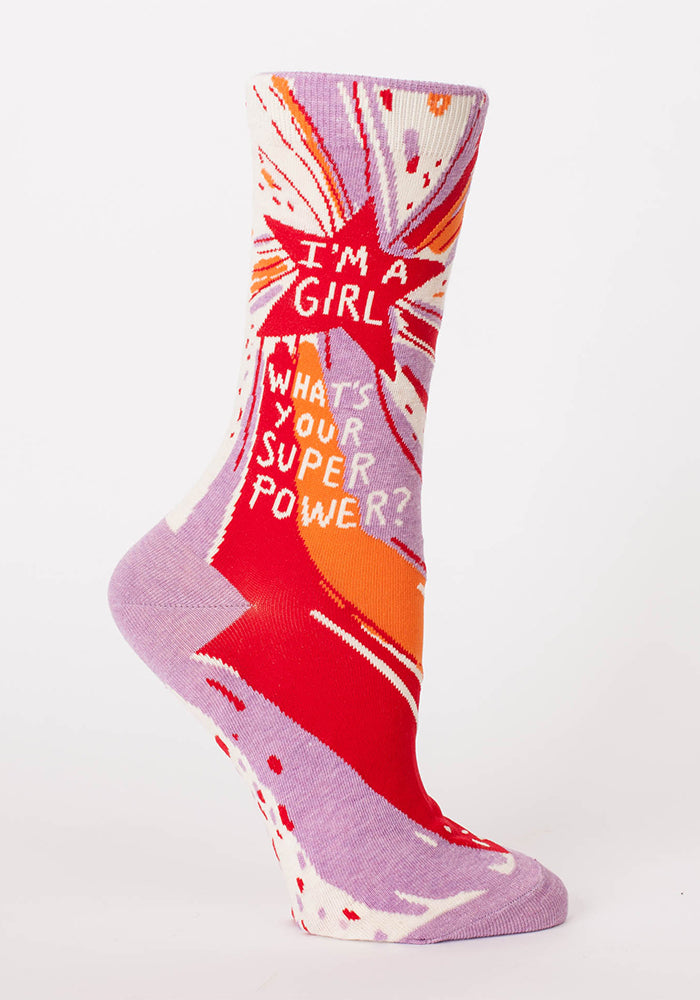 BLUE Q I'm A Girl, What's Your Superpower? Women's Socks