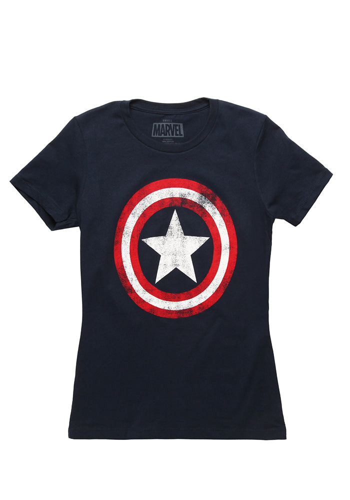 CAPTAIN AMERICA Captain America Distressed Shield Women's T-Shirt