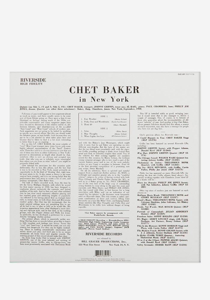 CHET BAKER Chet Baker In New York Exclusive LP
