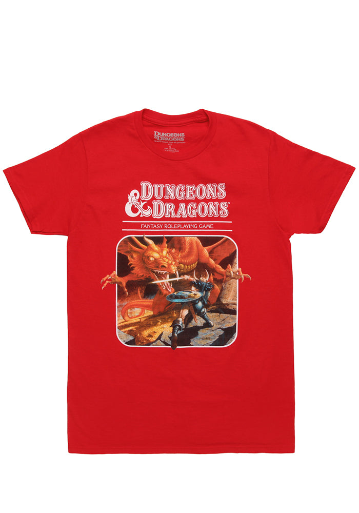 DUNGEONS & DRAGONS D&D Fantasy Role Playing Rulebook Cover T-Shirt - Red