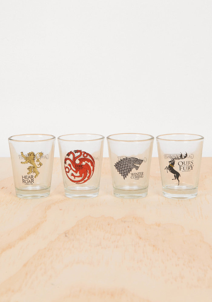 328a73cccf74 Game Of Thrones-Game Of Thrones Shot Glass 4-Pack Set – Newbury Comics