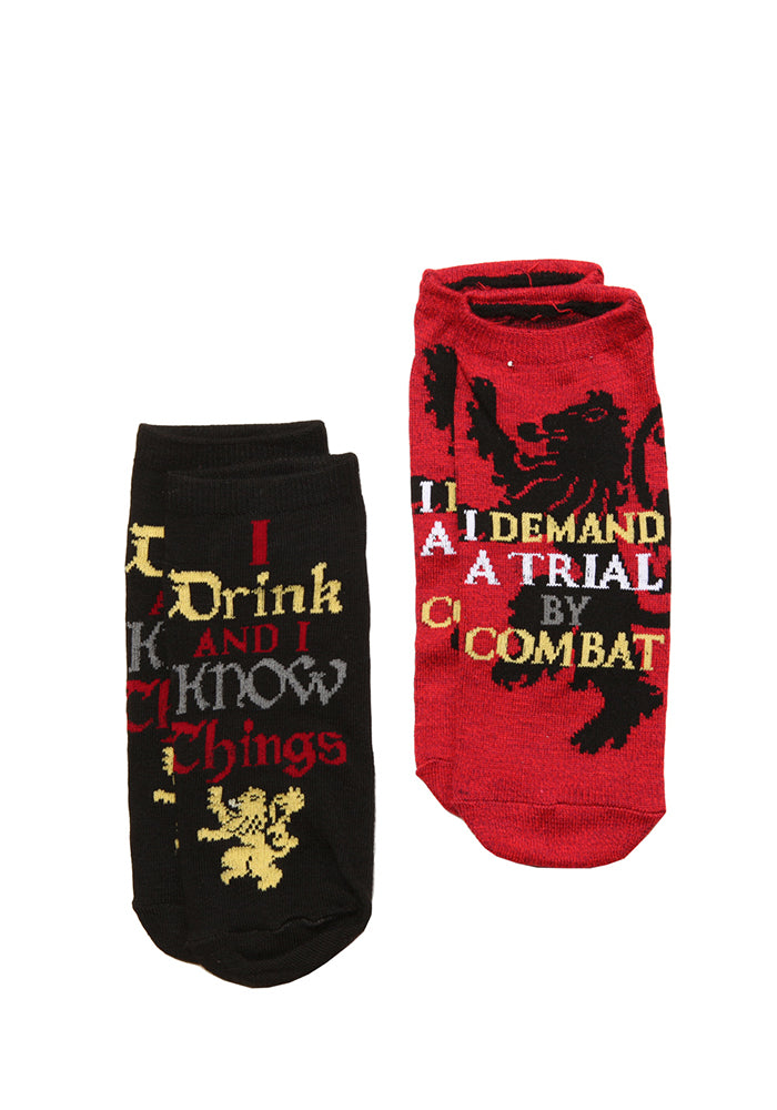GAME OF THRONES Tyrion Lannister Quotes Ankle Socks - 2-Pack