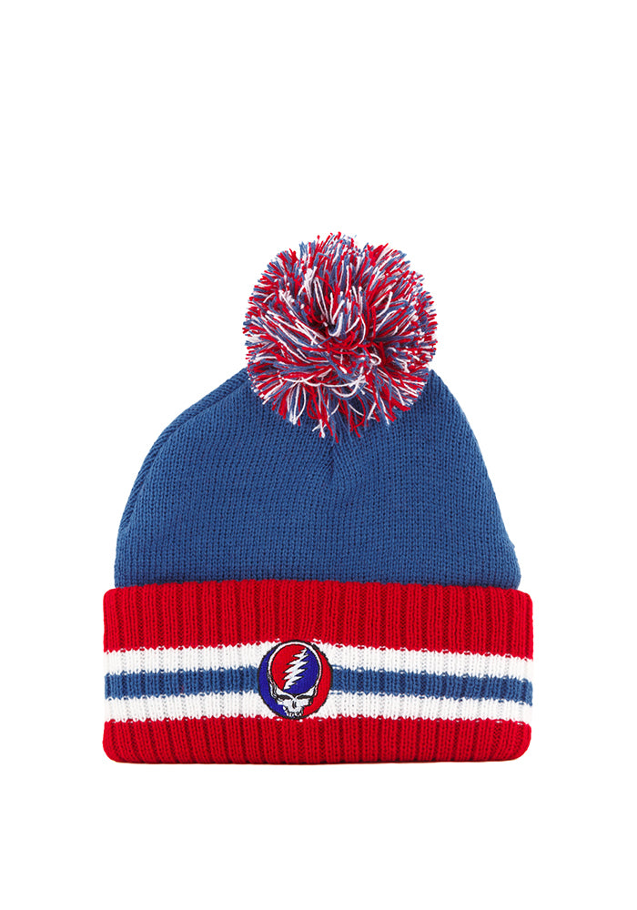 0597a4d2da3 GRATEFUL DEAD-Lightning Skull Striped Pom Beanie