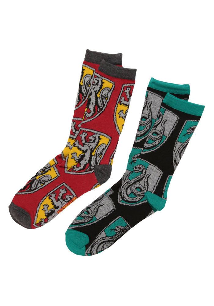 HARRY POTTER Gryffindor Slytherin House Crests Crew Socks 2-Pack
