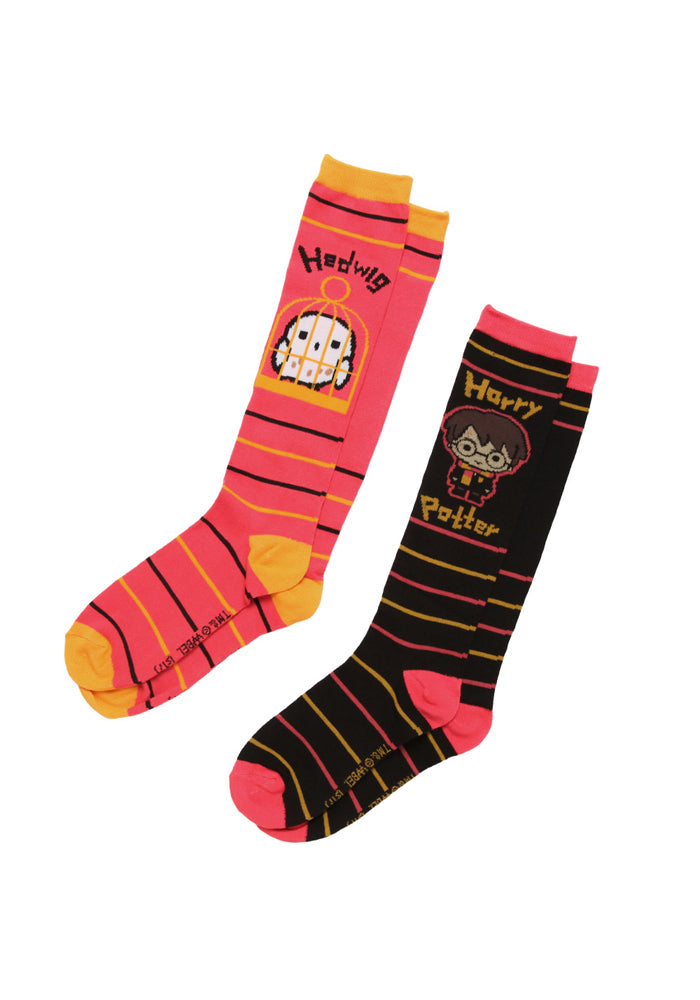 HARRY POTTER Hedwig And Harry Cartoon Knee High Socks 2-Pack