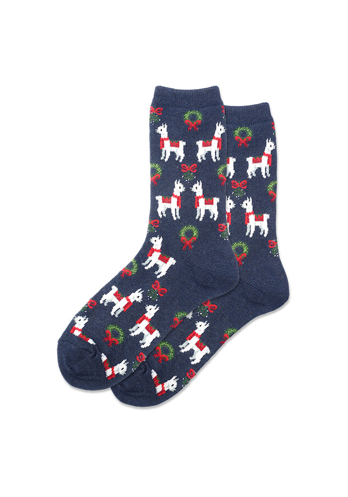 HOT SOX Holiday Llama Women's Crew Socks - Heather Navy