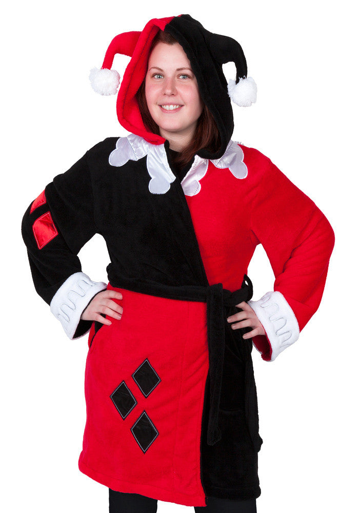 HARLEY QUINN Harley Quinn Deluxe Adult Hooded Fleece Bath Robe
