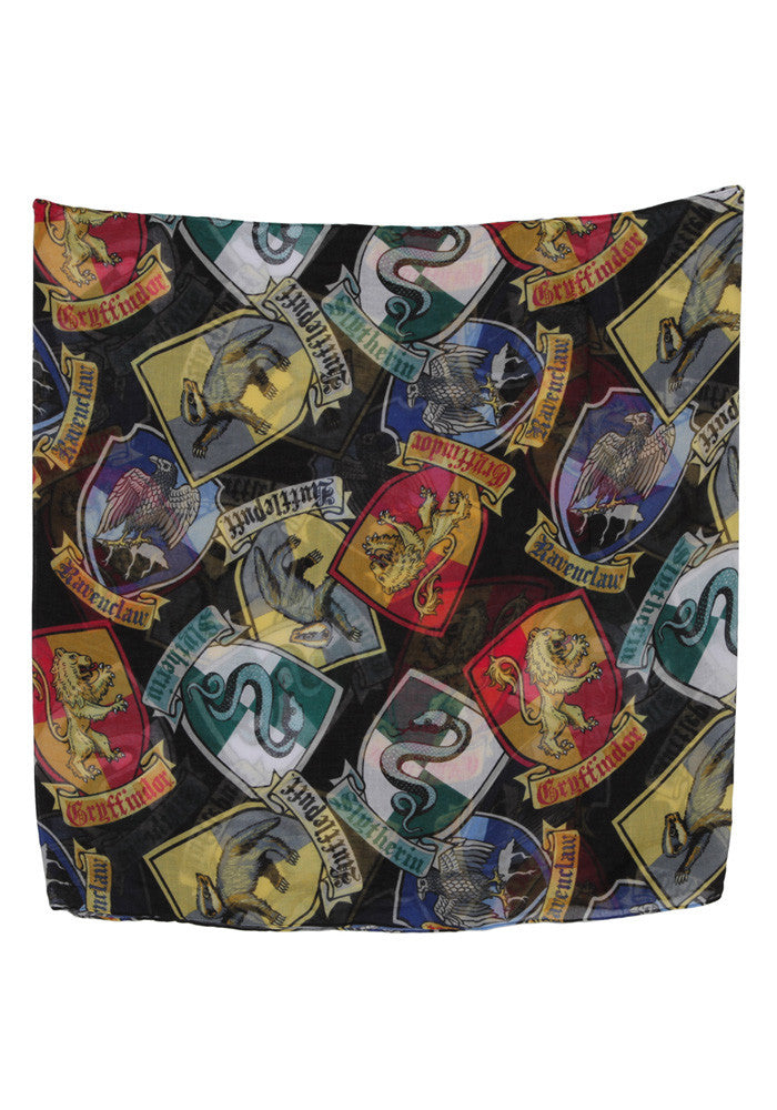 HARRY POTTER Hogwarts House Crests Infinity Print Viscose Scarf