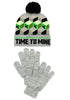 MINECRAFT Minecraft Time To Mine Youth Pom Beanie & Gloves Set