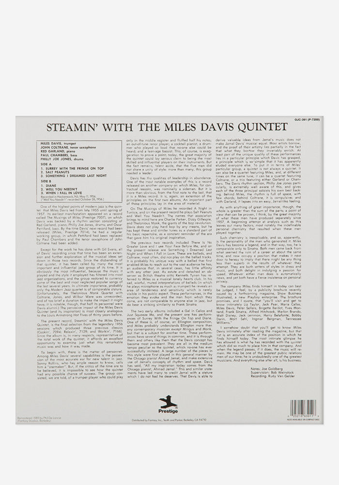 THE MILES DAVIS QUINTET Steamin' With The Miles Davis Quintet Exclusive LP