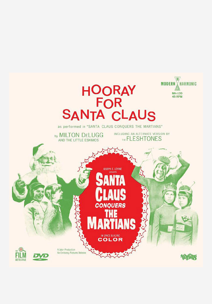 "MILTON DELUGG & THE LITTLE ESKIMOS / THE FLESHTONES Hooray For Santa Claus 7"" (Color) + DVD"