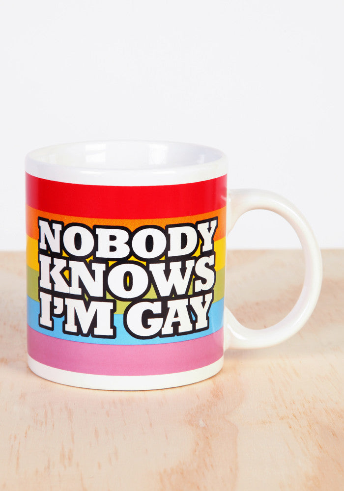 WICKED FUN MUGS Nobody Knows I'm Gay Rainbow Coffee Mug