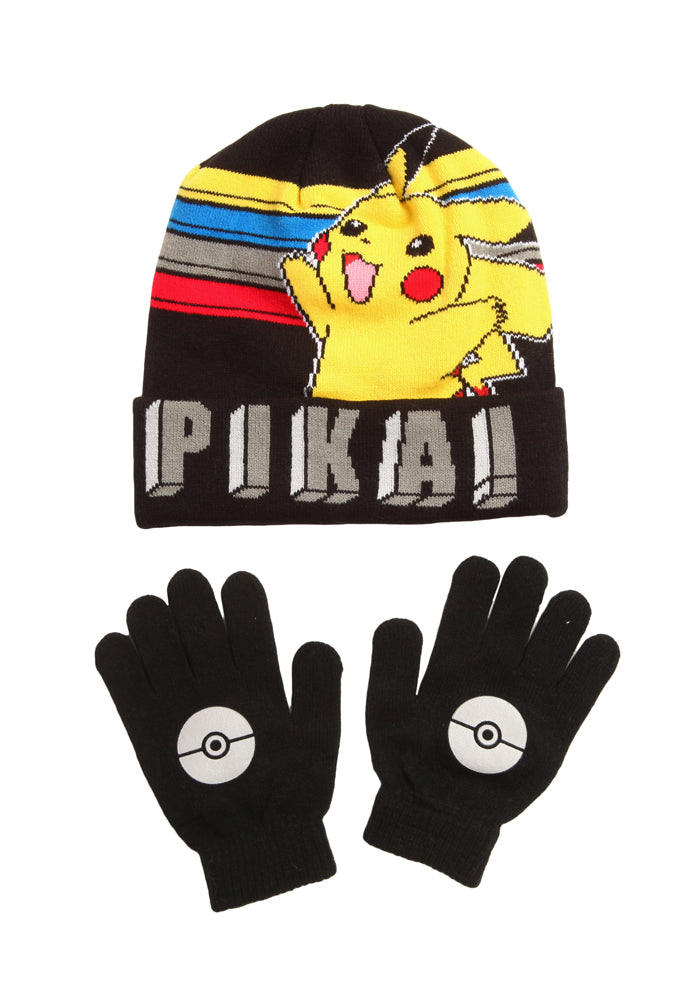 POKEMON Pokemon Pika Youth Pom Beanie & Gloves Set