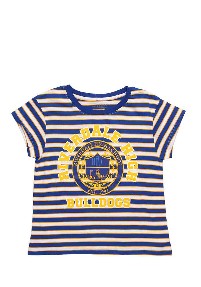 RIVERDALE Riverdale High School Bulldogs Crest Striped Crop Top Women's T-shirt