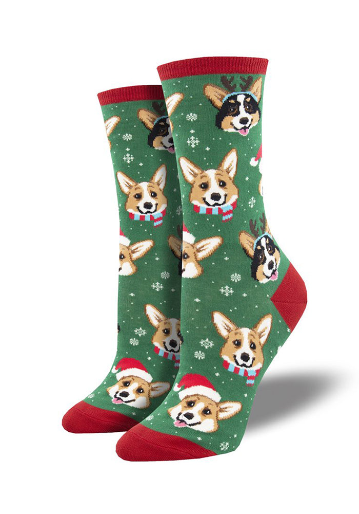 SOCKSMITH Happy Pawlidays Christmas Corgi Women's Socks - Green