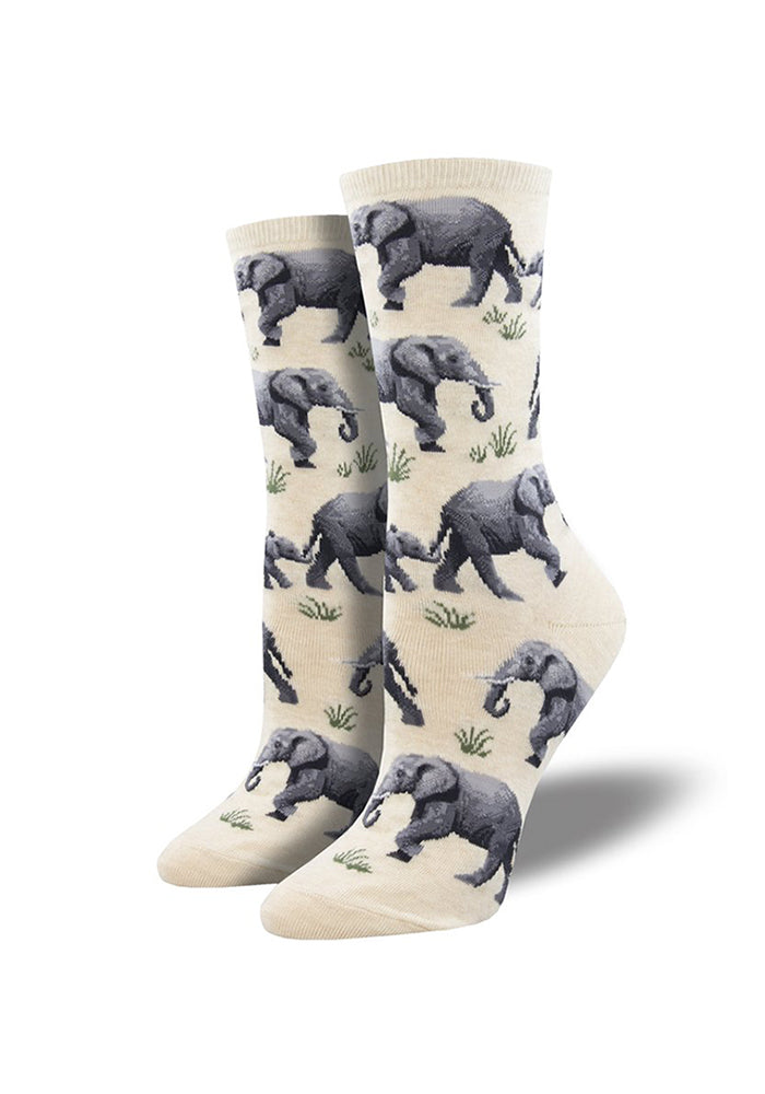 SOCKSMITH Raising A Herd Of Elephants Women's Socks - White