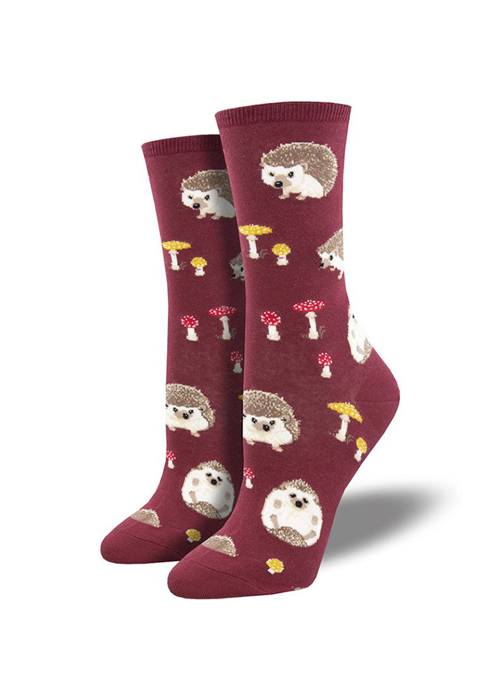 SOCKSMITH Slow Poke Hedgehog Women's Socks - Red