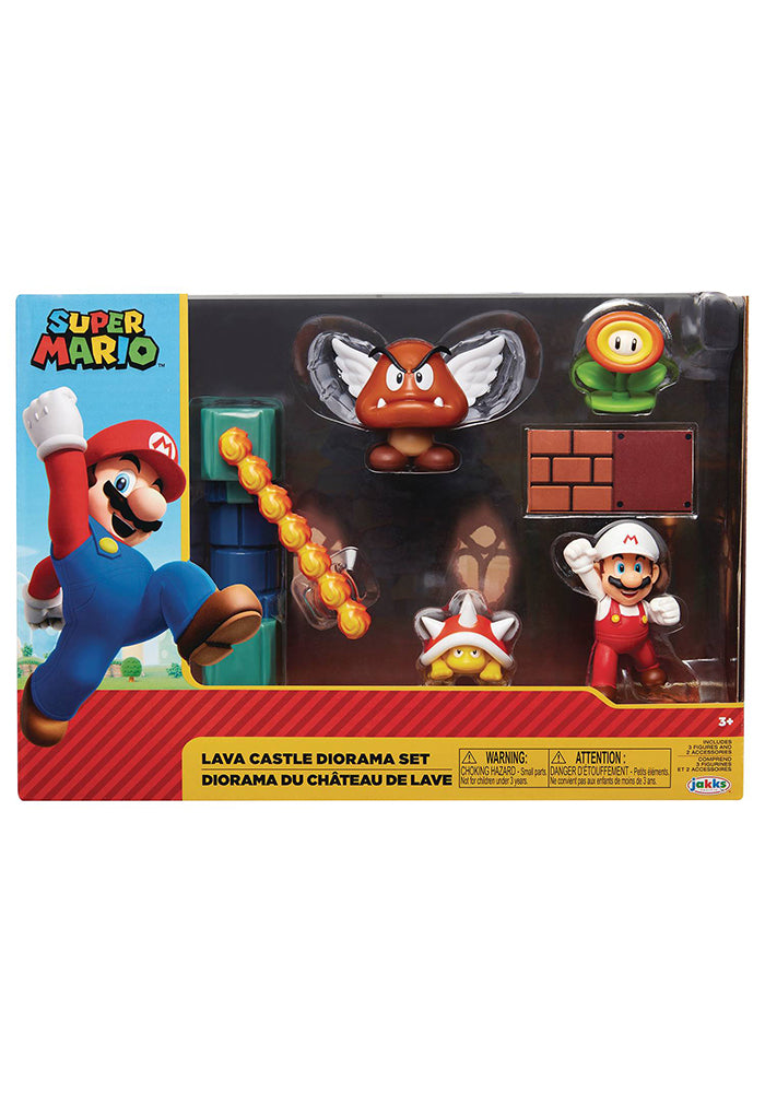 SUPER MARIO BROS World of Nintendo 2.5-Inch Action Figure - Lava Castle Playset With Fire Mario