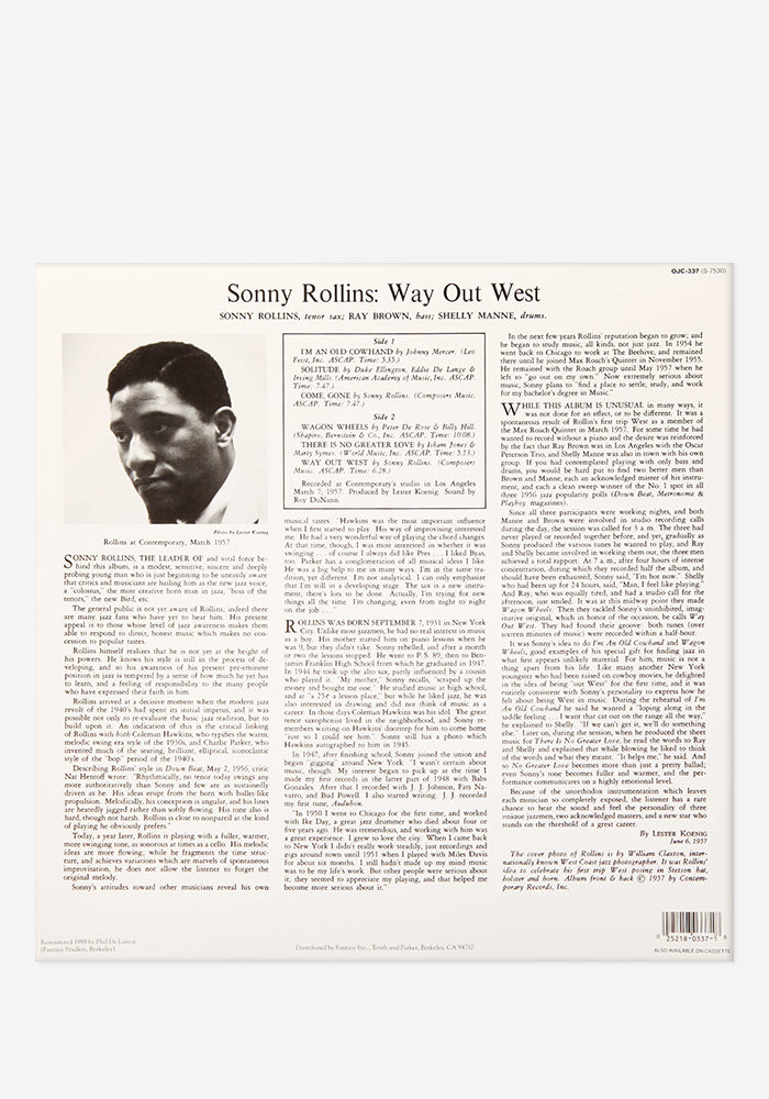 SONNY ROLLINS Way Out West Exclusive LP