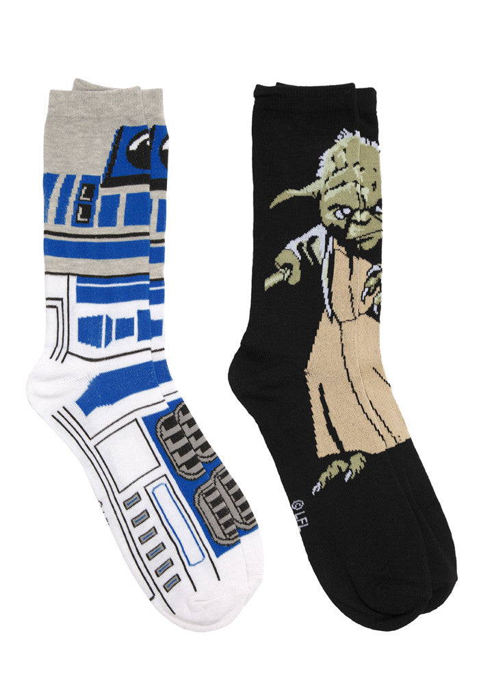 STAR WARS Master Yoda & R2D2 Socks - 2 Pack