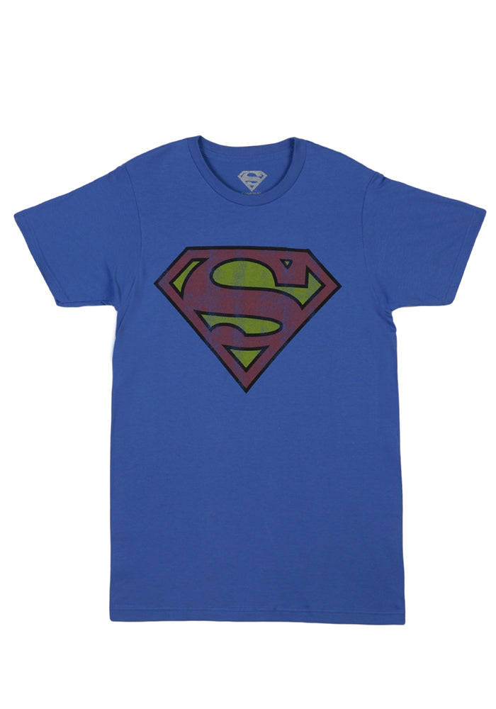 SUPERMAN Superman Distressed Logo T-Shirt