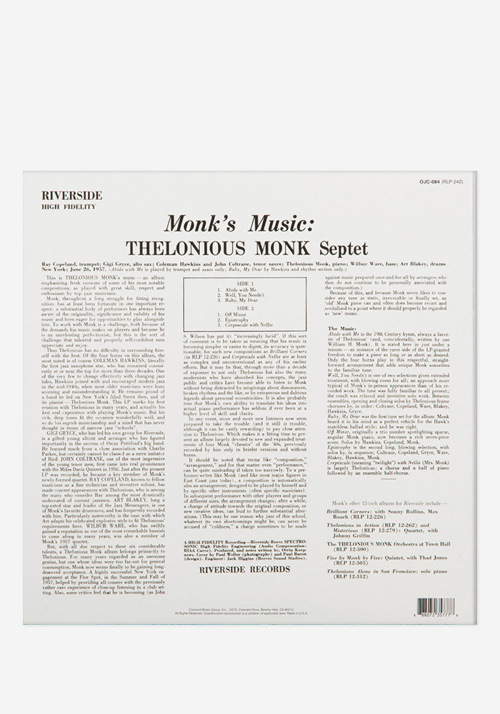 THELONIOUS MONK Monk's Music Exclusive LP