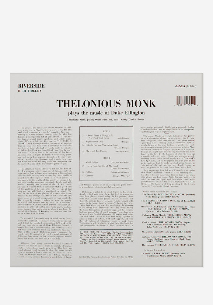 THELONIOUS MONK Plays Duke Ellington Exclusive LP