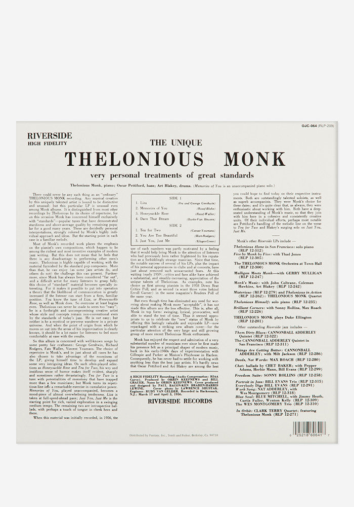 THELONIOUS MONK The Unique Thelonious Monk Exclusive LP