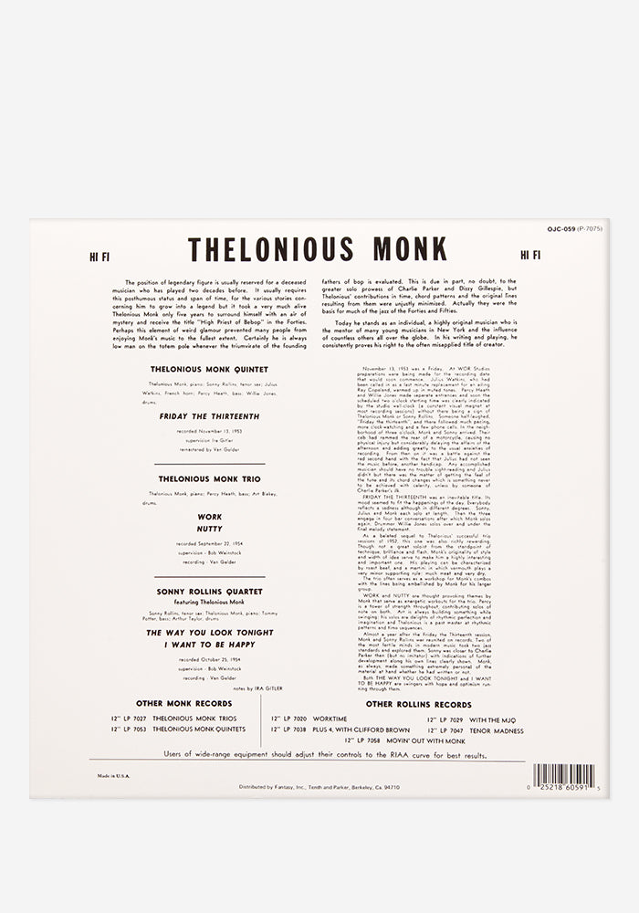 THELONIOUS MONK & SONNY ROLLINS Thelonious Monk & Sonny Rollins Exclusive LP