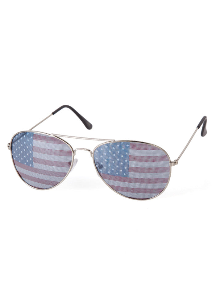 USA American Flag Print Aviator Sunglasses