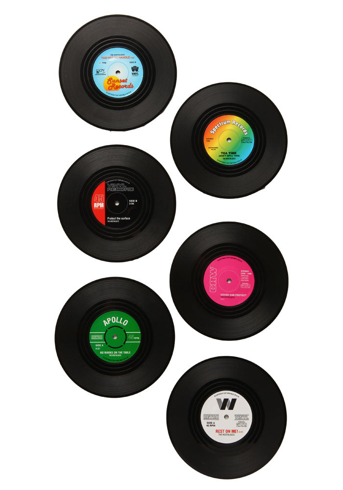 WICKED GOOD GIFTS Retro Vinyl Coasters 6-Pack