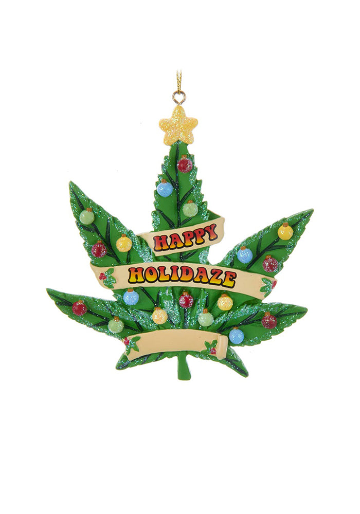 KURT S. ADLER Happy Holidaze Cannabis Leaf Ornament