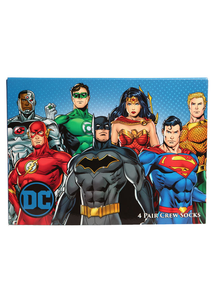 JUSTICE LEAGUE DC Superhero Logos Crew Socks 4-Pack Box