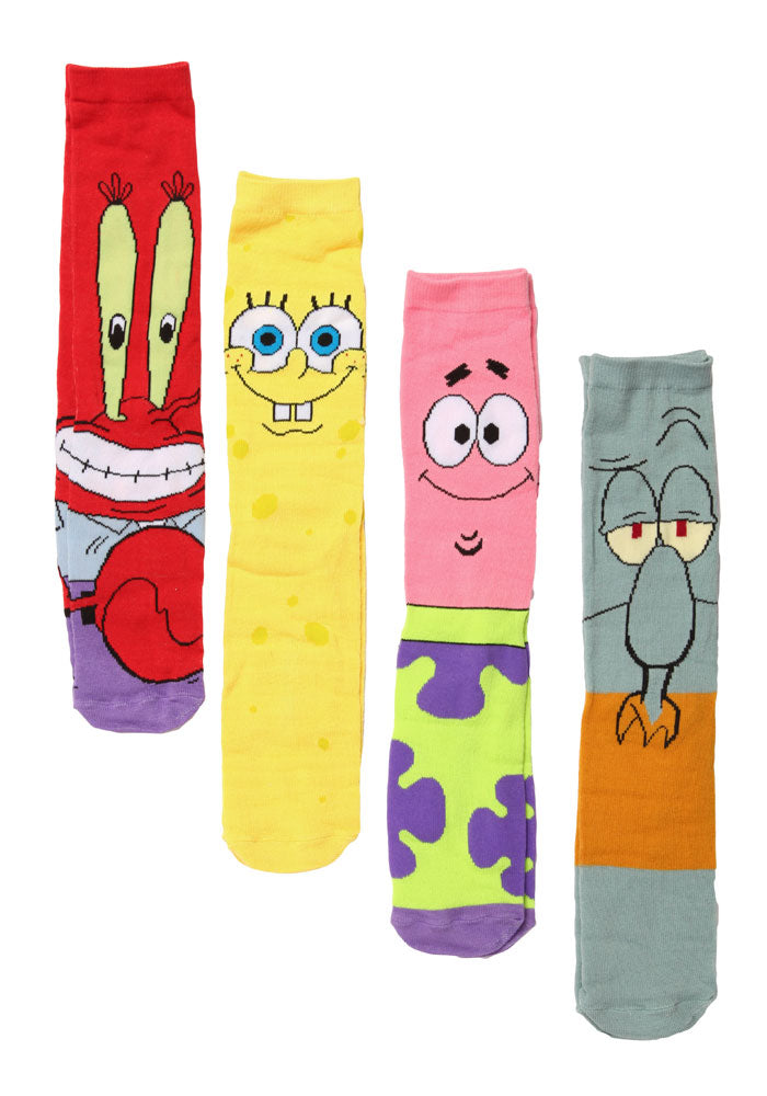 SPONGEBOB SQUAREPANTS SpongeBob Character Crew Socks 4-Pack Box