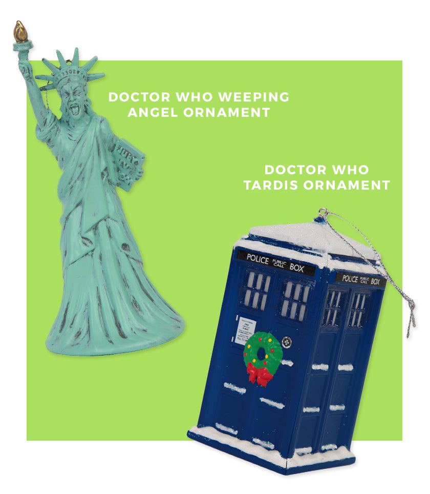 Doctor Who Weeping Angel and Tardis Ornaments