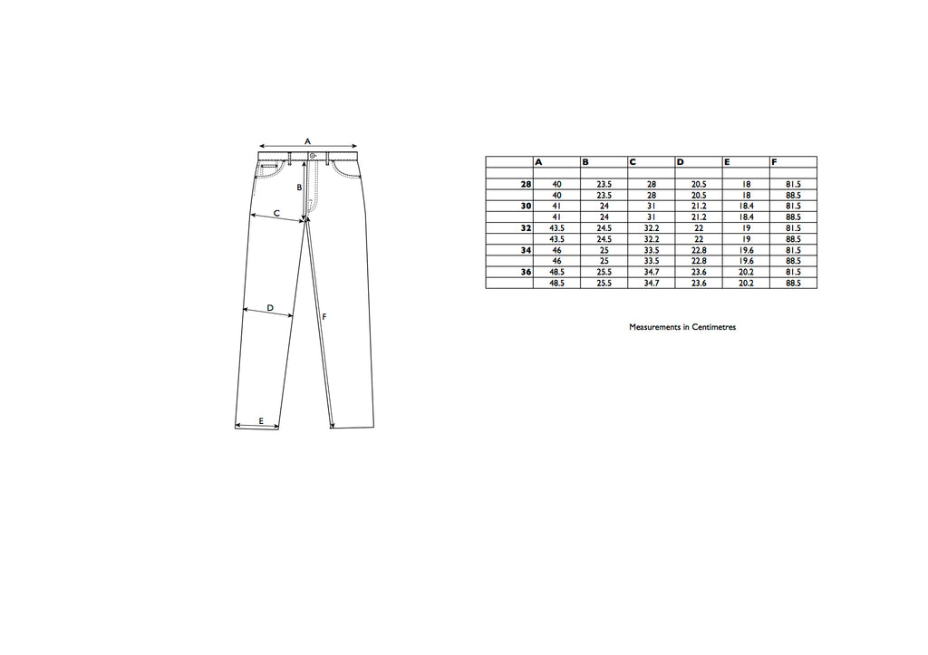 Loose Tapered Size Chart