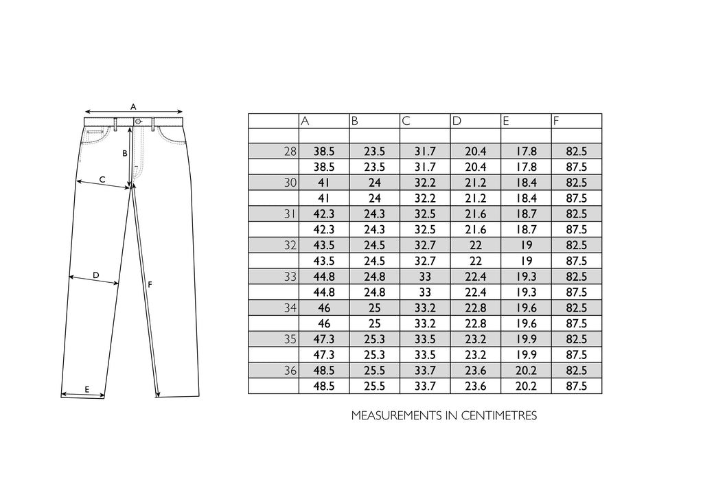 Hawksmill Denim Co - Loose Tapered Size Chart