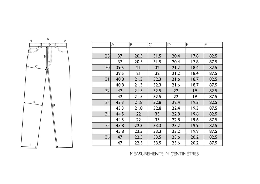 Regular Tapered  Size Chart - Hawksmill Denim Co