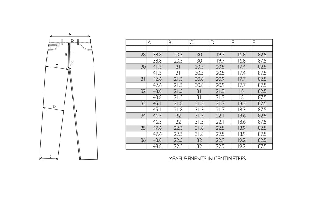 Hawksmill Denim Co - Slim Tapered Size Chart