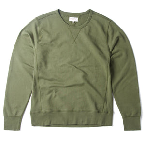 Garment Dyed Flatlock Sweat Olive - HAWKSMILL DENIM CO