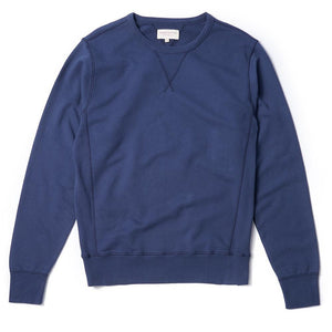Garment Dyed Sweat Navy - HAWKSMILL DENIM CO