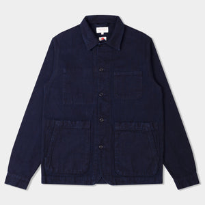 14.5oz Japanese Heavy Slub Cotton Canvas Utility Jacket Mk II Navy (Indigo)
