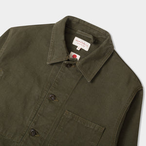 14.5oz Japanese Heavy Slub Cotton Canvas Utility Jacket Mk II Olive Jacket HAWKSMILL DENIM CO
