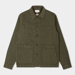 14.5oz Japanese Heavy Slub Cotton Canvas Utility Jacket Mk II Olive