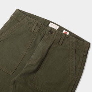 14.5oz Japanese Heavy Slub Cotton Canvas Utility Pants Olive