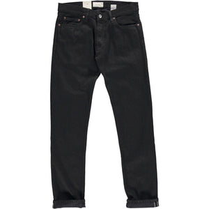 Slim Tapered Candiani Black Soak Selvedge Denim Jeans